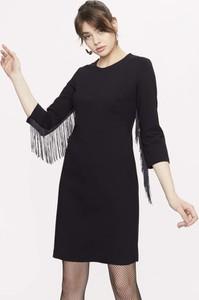 Czarna sukienka Seriously z długim rękawem mini z okrągłym dekoltem