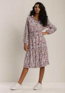 Sukienka Renee z długim rękawem midi z dekoltem w kształcie litery v