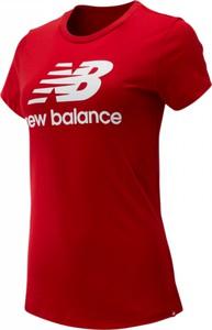 Czerwona bluzka New Balance z bawełny