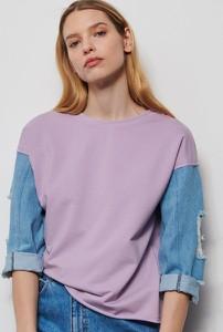 Fioletowa bluzka Reserved z długim rękawem