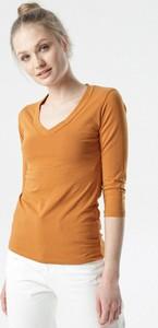 Brązowa bluzka born2be z długim rękawem z dekoltem w kształcie litery v