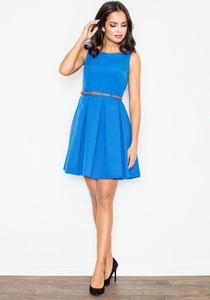 Niebieska sukienka sukienki.pl rozkloszowana z okrągłym dekoltem