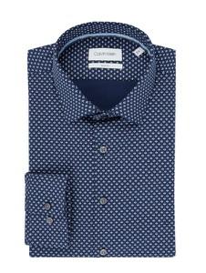 Granatowa koszula Calvin Klein z bawełny z długim rękawem z klasycznym kołnierzykiem