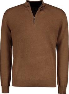 Brązowy sweter Lavard ze skóry ekologicznej w stylu casual