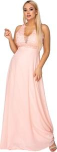 Sukienka Ptakmoda.com maxi z dekoltem w kształcie litery v z tiulu