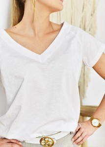 T-shirt Fason z bawełny z dekoltem w kształcie litery v w stylu casual
