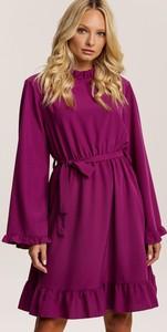 Fioletowa sukienka Renee mini z długim rękawem