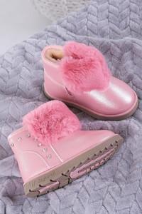 Różowe buty dziecięce zimowe Casu na zamek