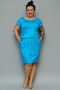 Sukienka KARKO prosta z dresówki z krótkim rękawem