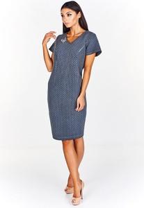 Niebieska sukienka Fokus z dekoltem w kształcie litery v midi