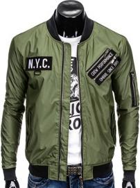 Ombre clothing kurtka męska przejściowa bomberka c349 - oliwkowa