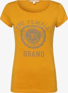 Żółty t-shirt Tom Tailor Denim w młodzieżowym stylu z okrągłym dekoltem