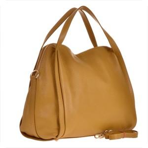 19bd8c37f4611 Borse in pelle elegancka torebka skórzana pakowna w kolorze musztardowym