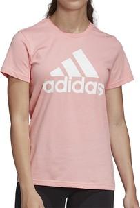 Bluzka Adidas z bawełny z okrągłym dekoltem z krótkim rękawem