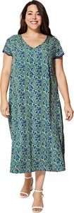 Sukienka Aller Simplement z krótkim rękawem w stylu casual z dekoltem w kształcie litery v