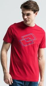 Czerwony t-shirt Lotto z krótkim rękawem