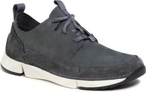 Granatowe buty sportowe Clarks z zamszu sznurowane