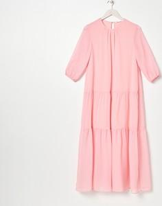 Różowa sukienka Sinsay w stylu casual z kołnierzykiem