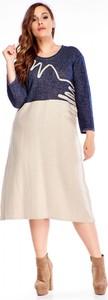 Sukienka Ptakmoda.com z lnu z okrągłym dekoltem