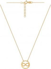 Lovrin Złoty naszyjnik 585 celebrytka z nieskończonością otoczoną grawerowaną okrągłą ramką