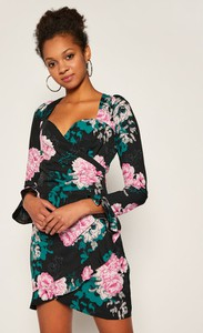 Sukienka Guess z długim rękawem z dekoltem w kształcie litery v