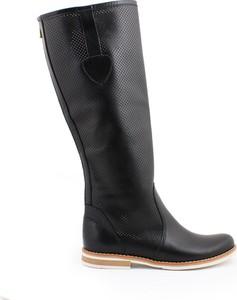 Zapato kozaki dziurkowane z suwakiem - skóra naturalna - model 126 - kolor czarny