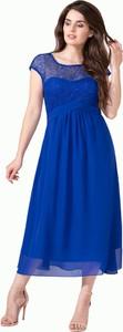 Niebieska sukienka Art Mio z satyny