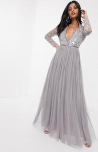 Sukienka Needle & Thread z długim rękawem z dekoltem w kształcie litery v maxi
