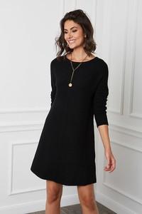 Czarna sukienka Joséfine z kaszmiru z okrągłym dekoltem mini