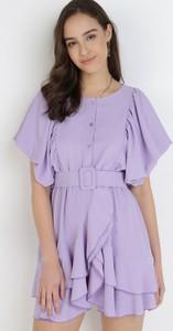 Sukienka born2be mini z krótkim rękawem z okrągłym dekoltem