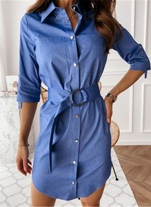 Niebieska sukienka Sandbella z długim rękawem mini w stylu casual