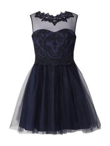 Niebieska sukienka Paradi rozkloszowana z okrągłym dekoltem mini