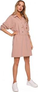 Sukienka MOE mini w stylu casual z kołnierzykiem
