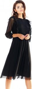 Sukienka Awama z długim rękawem midi z okrągłym dekoltem