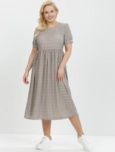 Sukienka born2be midi w stylu casual z okrągłym dekoltem