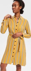 Żółta sukienka Reserved szmizjerka midi