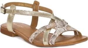 Złote sandały Maciejka ze skóry z klamrami