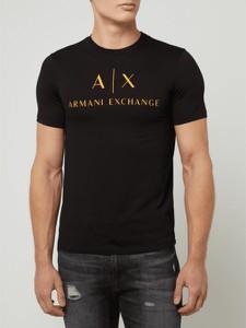 Czarny t-shirt Armani Exchange z bawełny z krótkim rękawem w młodzieżowym stylu