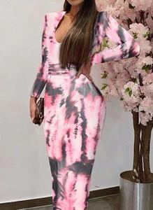 Różowa sukienka Cikelly z długim rękawem ołówkowa maxi
