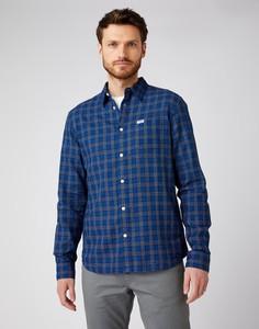 Niebieska koszula Wrangler z klasycznym kołnierzykiem z długim rękawem