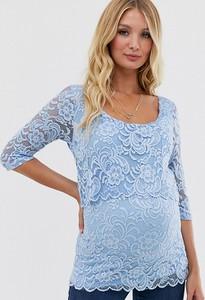 Mama Licious Mamalicious – Koronkowa bluzka dla karmiących-Niebieski