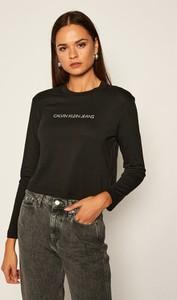 Bluzka Calvin Klein z długim rękawem z okrągłym dekoltem