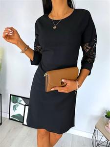 Sukienka ModnaKiecka.pl mini z długim rękawem w stylu klasycznym