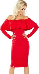 Czerwona sukienka NUMOCO z długim rękawem hiszpanka z odkrytymi ramionami