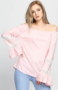 Różowa bluzka Multu z długim rękawem w stylu boho hiszpanka