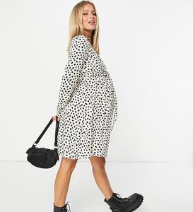 ASOS DESIGN Maternity – Sukienka kopertowa mini z długim rękawem, zwierzęcym wzorem i funkcją karmienia-Wielokolorowy