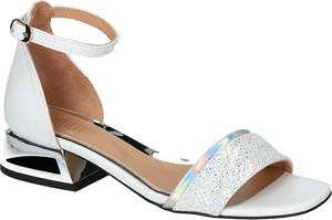 Sandały SIMEN na obcasie w stylu glamour ze skóry