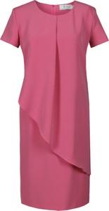 Różowa sukienka Fokus midi asymetryczna w stylu klasycznym