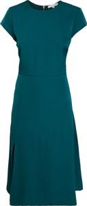 Zielona sukienka Inna z krótkim rękawem midi z okrągłym dekoltem