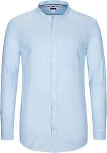 Niebieska koszula Tommy Hilfiger ze stójką